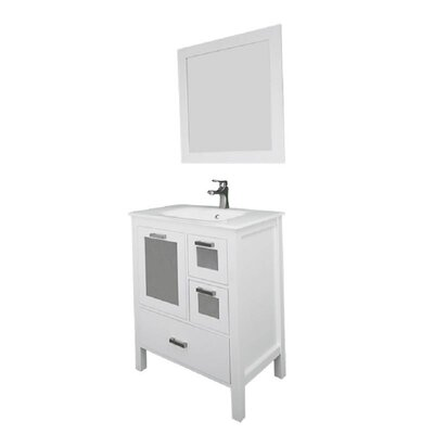 Andre 30 Single Bathroom Vanity Set with Mirror Base Finish: White, Sink Material: Glass
