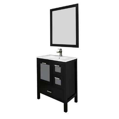 Andre 30 Single Bathroom Vanity Set with Mirror Base Finish: Espresso, Sink Material: Ceramic