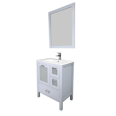 Andre 30 Single Bathroom Vanity Set with Mirror Base Finish: Gray, Sink Material: Ceramic