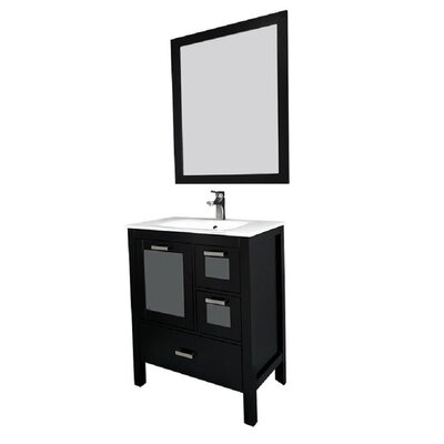 Andre 30 Single Bathroom Vanity Set with Mirror Base Finish: Espresso, Sink Material: Glass