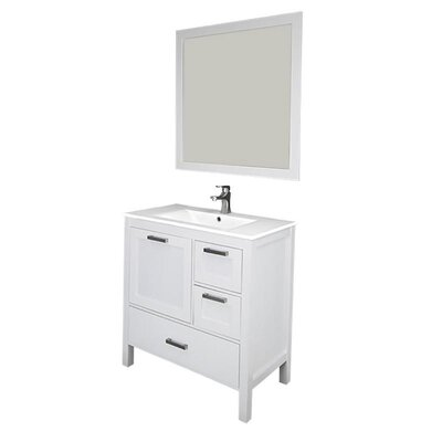Andre 36 Single Bathroom Vanity Set with Mirror Base Finish: White