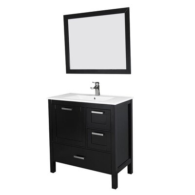 Andre 36 Single Bathroom Vanity Set with Mirror Base Finish: Espresso