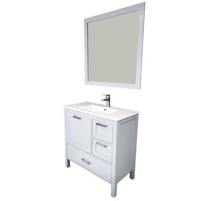 Andre 36 Single Bathroom Vanity Set with Mirror Base Finish: Gray