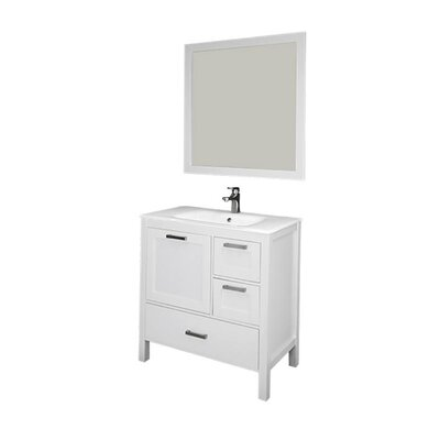 Andre 36 Single Bathroom Vanity Set with Mirror Base Finish: White