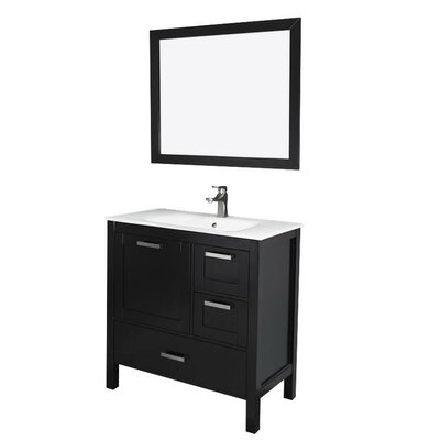Andre 36 Single Bathroom Vanity Set with Mirror Base Finish: Espresso