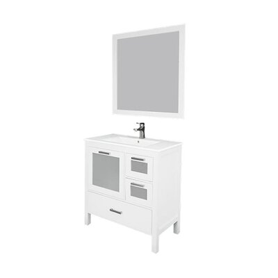 Andre 36 Single Bathroom Vanity Set with Mirror Base Finish: White, Sink Material: Ceramic