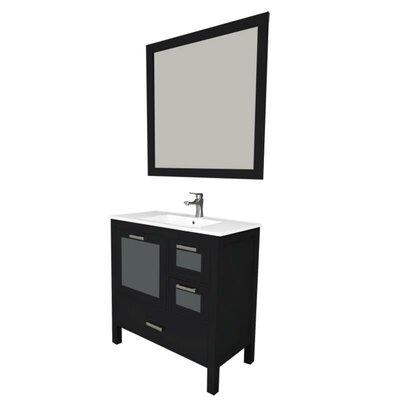 Andre 36 Single Bathroom Vanity Set with Mirror Base Finish: Espresso, Sink Material: Ceramic
