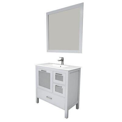 Andre 36 Single Bathroom Vanity Set with Mirror Base Finish: Gray, Sink Material: Ceramic