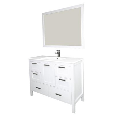 Andre 48 Single Bathroom Vanity Set with Mirror Base Finish: White, Sink Material: Ceramic