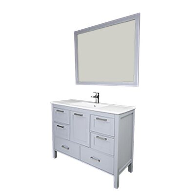Andre 48 Single Bathroom Vanity Set with Mirror Base Finish: Gray, Sink Material: Glass