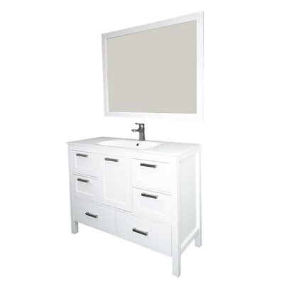 Andre 48 Single Bathroom Vanity Set with Mirror Base Finish: White, Sink Material: Glass