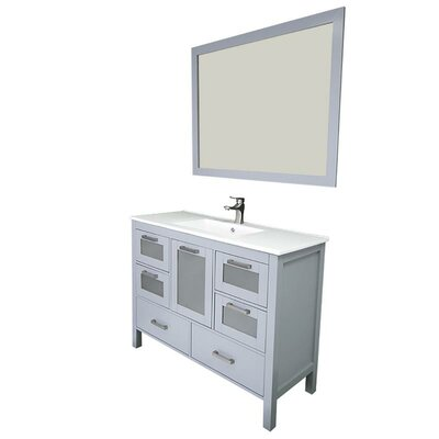 Andre 48 Single Bathroom Vanity Set with Mirror Base Finish: Gray