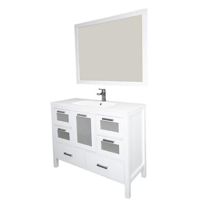 Andre 48 Single Bathroom Vanity Set with Mirror Base Finish: White