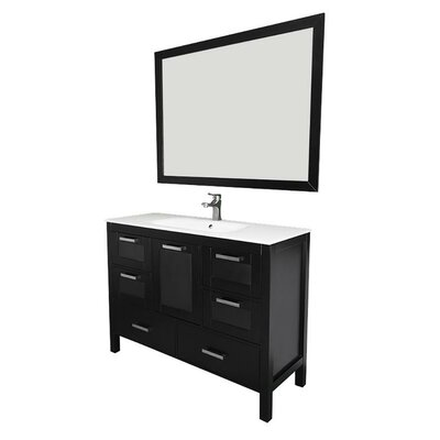Andre 48 Single Bathroom Vanity Set with Mirror Base Finish: Espresso