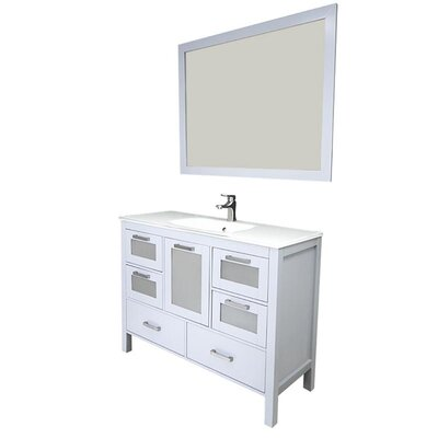 Andre 48 Single Bathroom Vanity Set with Mirror Base Finish: Gray