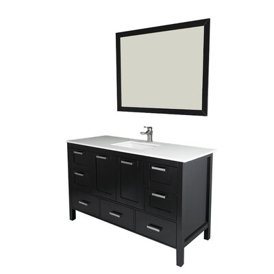 Andre 60 Single Bathroom Vanity Set with Mirror Base Finish: Espresso, Sink Material: Glass