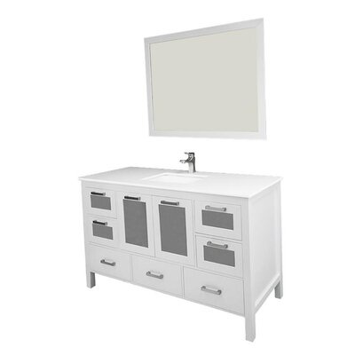Andre 60 Single Bathroom Vanity Set with Mirror Base Finish: White, Sink Material: Ceramic