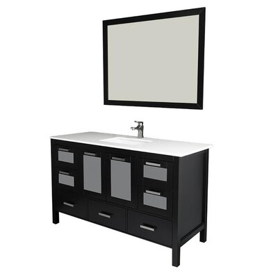 Andre 60 Single Bathroom Vanity Set with Mirror Base Finish: Espresso, Sink Material: Ceramic