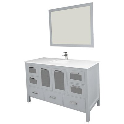 Andre 60 Single Bathroom Vanity Set with Mirror Base Finish: Gray, Sink Material: Ceramic
