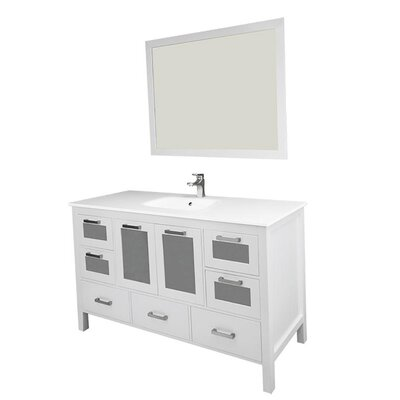 Andre 60 Single Bathroom Vanity Set with Mirror Base Finish: White