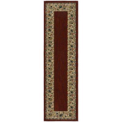 Rabon Burgundy/Ivory Area Rug Rug Size: Runner 21 x 76