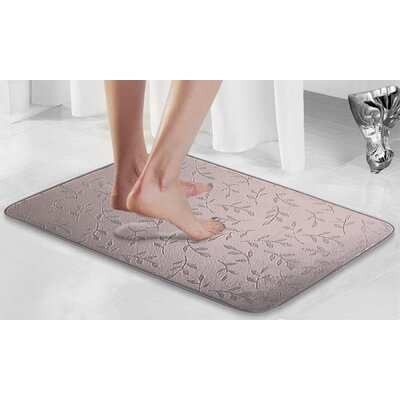 Umstead Memory Foam Leaf Bath Rug Color: Plum, Size: 17 x 24