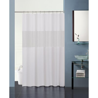 Hepworth 3D Striped Shower Curtain Color: White/Frosty Clear