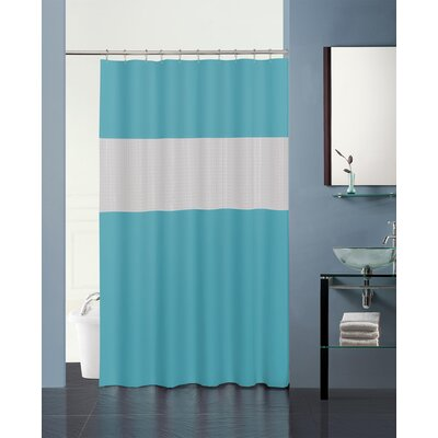 Hepworth 3D Striped Shower Curtain Color: Turquoise/Frosty Clear