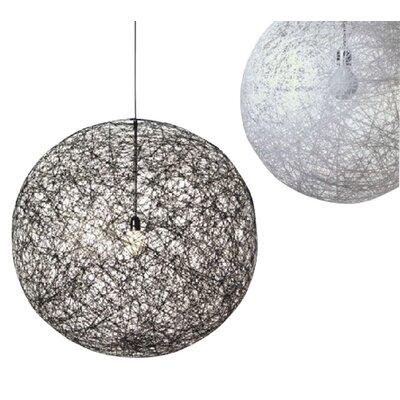Hewett Round 1-Light LED Globe Pendant Finish: White/Black, Size: 16 H x 16 W x 16 D