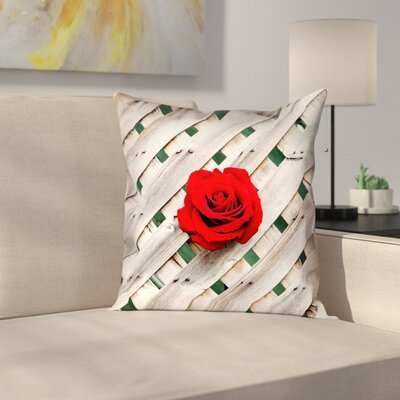 Hansard Fence Rose Indoor/Outdoor Throw Pillow Size: 16 x 16