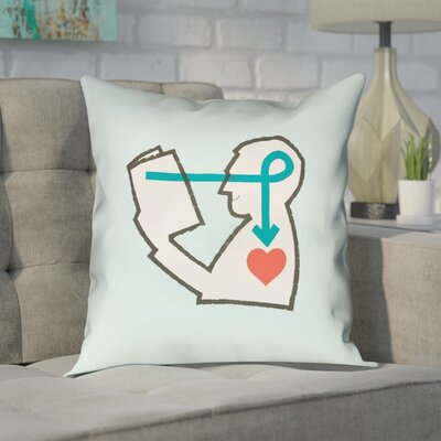 Enciso Reading Love Pink Throw Pillow Color: Blue, Size: 16 x 16