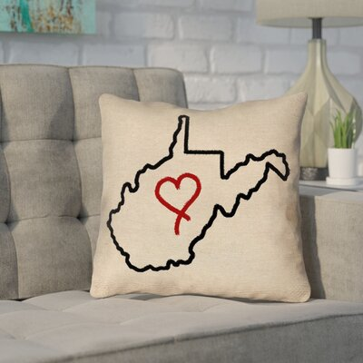 Sherilyn West Virginia Love Outline Outdoor Throw Pillow Size: 18 x 18
