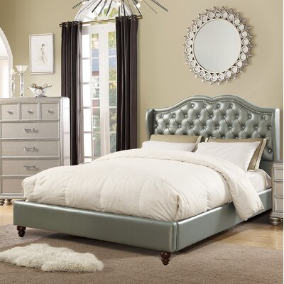 Rowe Upholstered Platform Bed Color: Silver, Size: Queen
