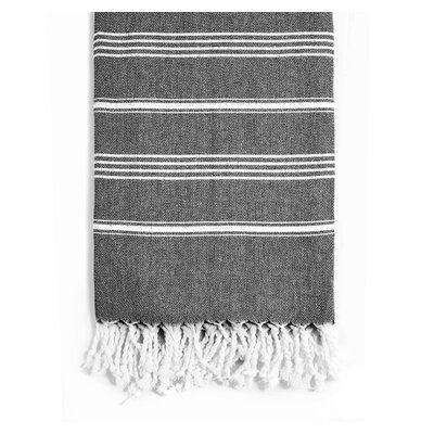Rowsey Classic Woven Traditional Peshtemal Bath Towel Color: Black