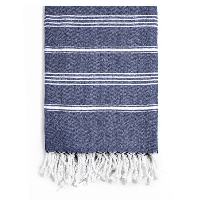 Rowsey Classic Woven Traditional Peshtemal Bath Towel Color: Navy