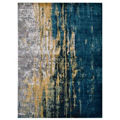 Costales Yellow/Silver/Blue Area Rug Rug Size: Rectangle 9 x 12