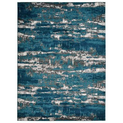 Costales Silver/Blue Area Rug Rug Size: Rectangle 10 x 13