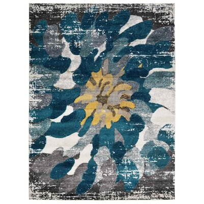 Henricks Silver/Blue Area Rug Rug Size: Rectangle 9 x 12