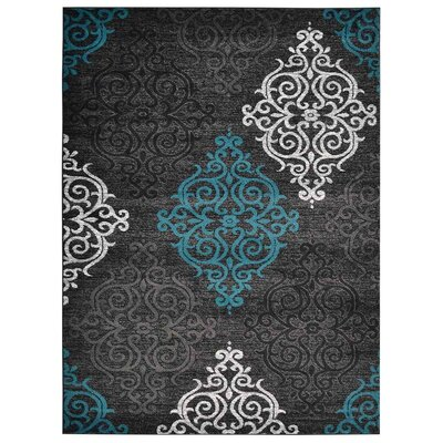 Tullos Black Area Rug Rug Size: Rectangle 9 x 12