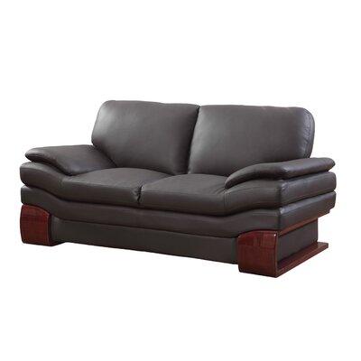 Hawthorn Luxury Upholstered Living Room Loveseat Upholstery: Brown