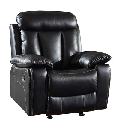 Trower Upholstered Living Room Manual Recliner Upholstery: Black