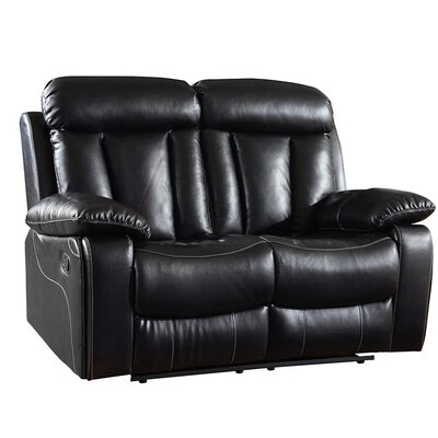 Ullery Upholstered Living Room Recliner Reclining Loveseat Upholstery: Black
