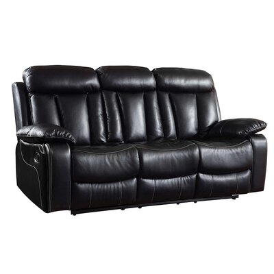 Ullery Upholstered Living Room Recliner Reclining Sofa Upholstery: Black