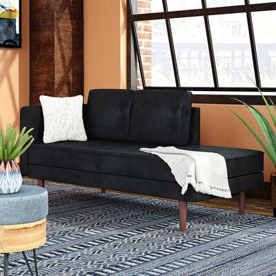 Jabari Mid Century Modern Upholstered Daybed with Mattress Upholstery Color: Black