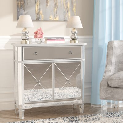 Marea End Table with Storage Color: Brushed Silver