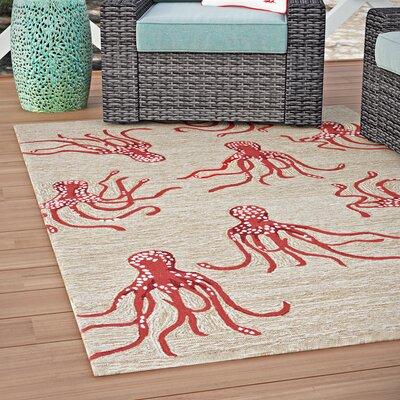 Northfield Octopus Hand-Tufted Orange/Beige Indoor/Outdoor Area Rug Rug Size: 5 x 76