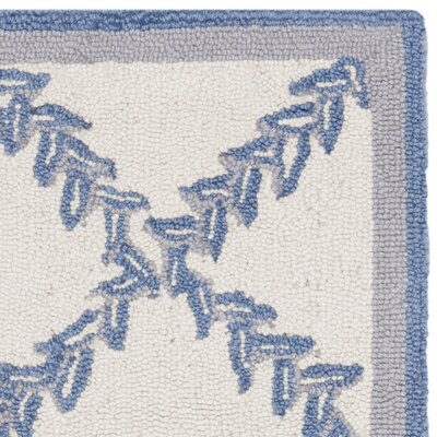 Martin Ivory & Blue Wilton Trellis Area Rug Rug Size: Rectangle 18 x 26