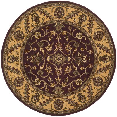 Golden Jaipur Burgundy/Gold Area Rug Rug Size: Round 6