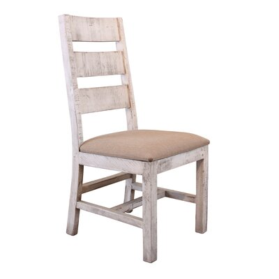 Pueblo Solid Wood Dining Chair Upholstery Color: Lavender, Frame Color: Brown