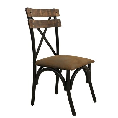 Strickler Solid Wood Dining Chair with Fabric Seat